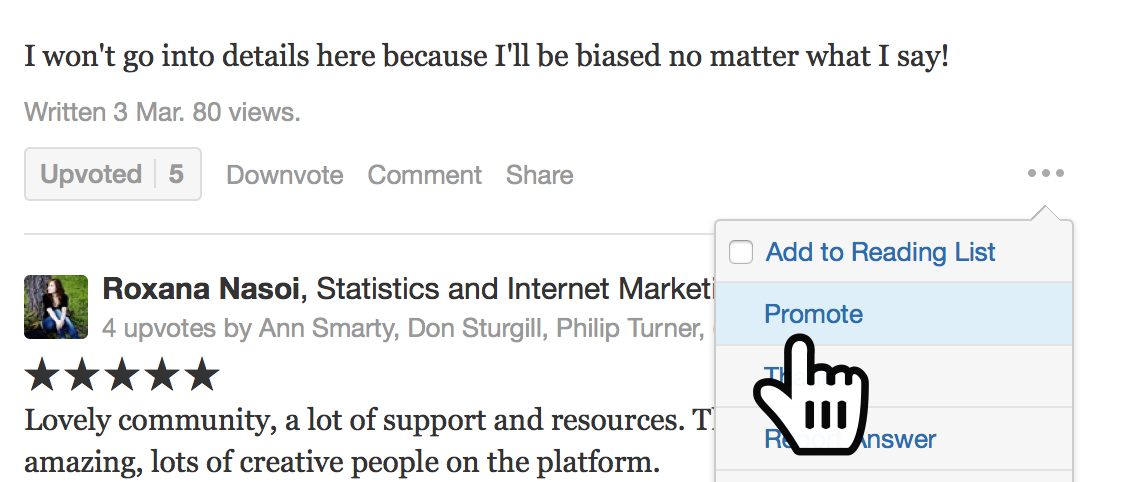 """promote"" best reviews Quora"