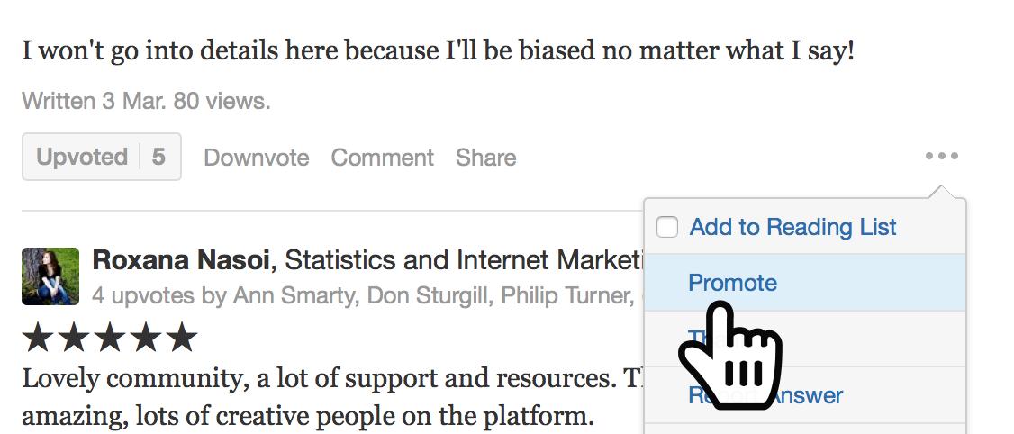"""promote"" best reviews Quora"
