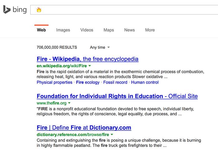 Bing Supports Emoji Search