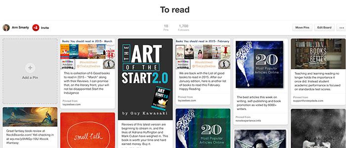 Pinterest for bookmarking