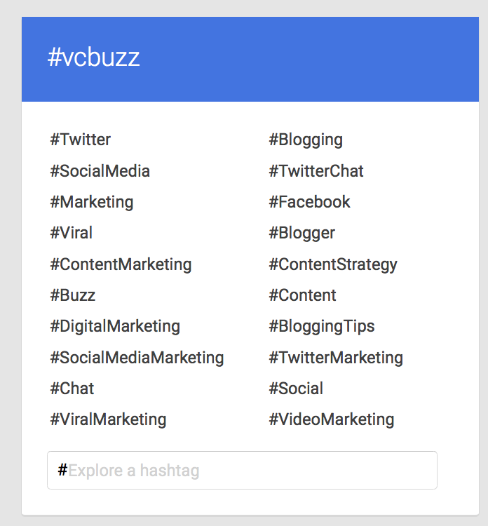 Google Plus /Explore section related hashtags