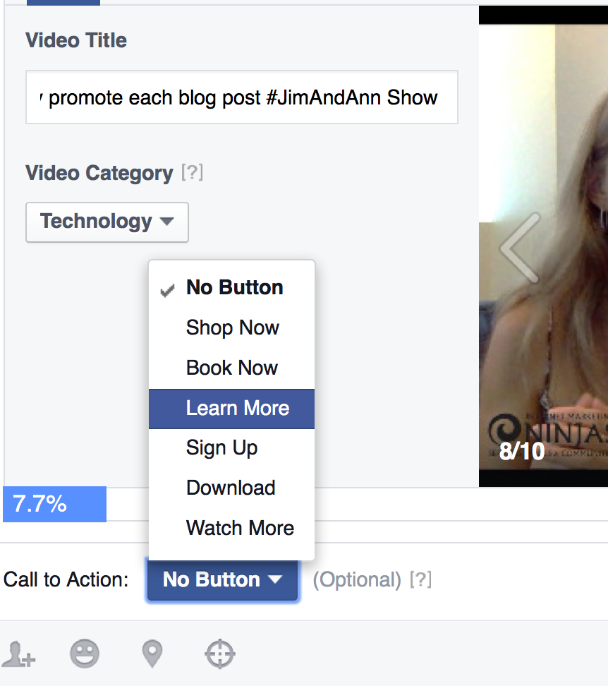 Video call to action