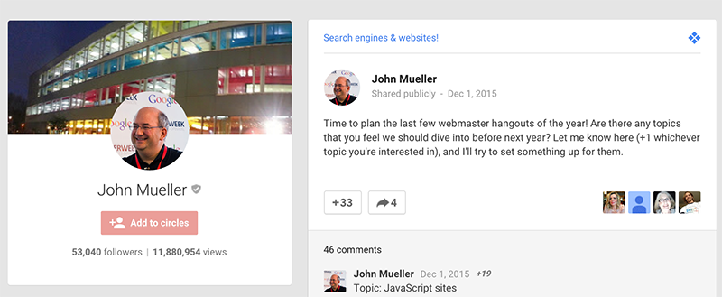 regular Google HOA on John's Google Plus page