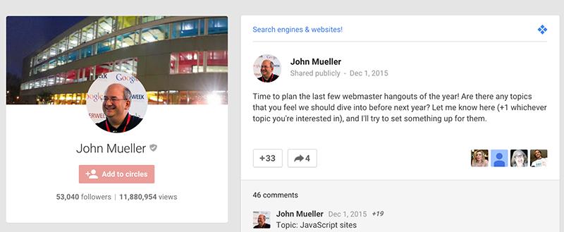 regular Google HOA on John's Google Plus page