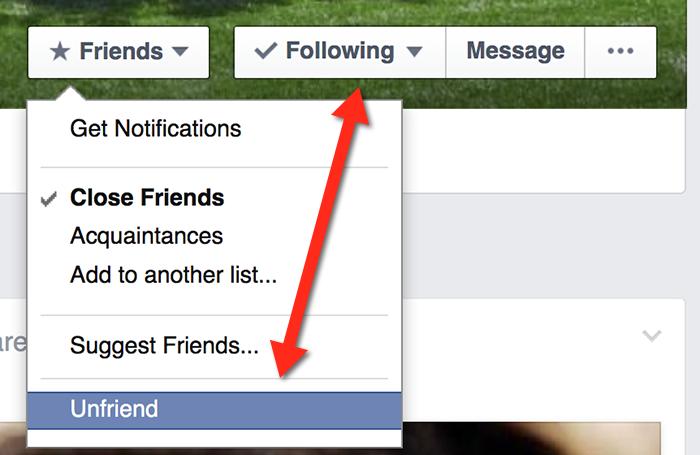 Unfollow vs Unfriending on Facebook