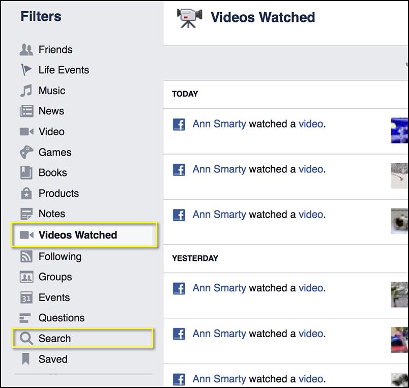 "Facebook ""Activity Log"" more"