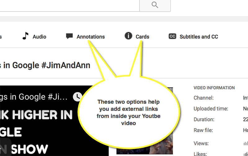 These two options help you add external links from inside your Youtbe video