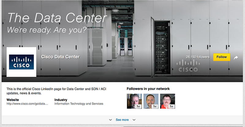 Adobe Showcase Page example: Cisco Data Centers