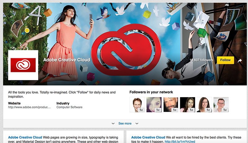 Adobe Showcase Page example: Adobe Creative Cloud Showcase Page