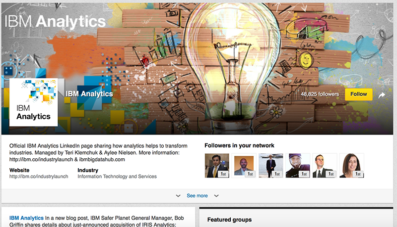 Adobe Showcase Page example: IBM Analytics