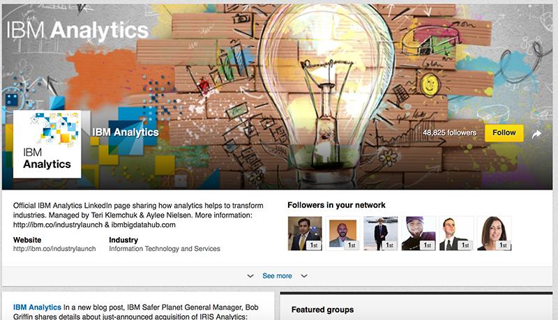 Adobe Showcase Page example: IBM Analytics
