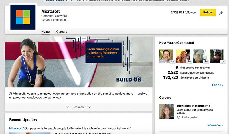 Microsoft Linkedin Page