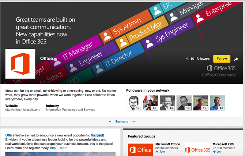 Adobe Showcase Page example: Microsoft Office