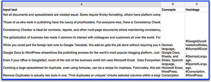 Text Analysis Addon Google Spreadsheet Addons