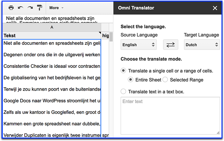 Omni Translator Google Spreadsheet Addons