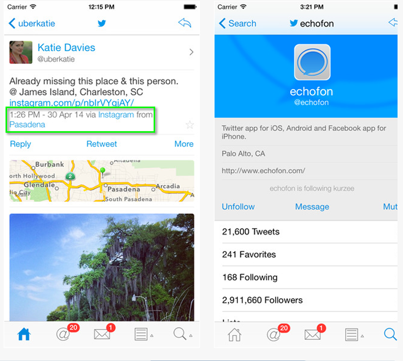 Echofon for Twitter: Which Twitter App a Tweet Was Sent From