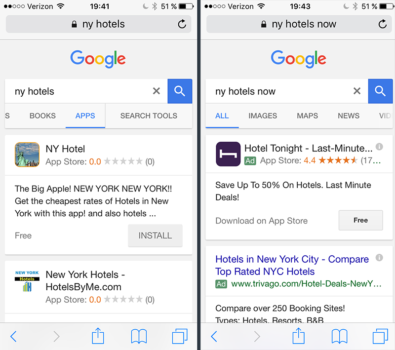 Mobile Apps In Google Search Results