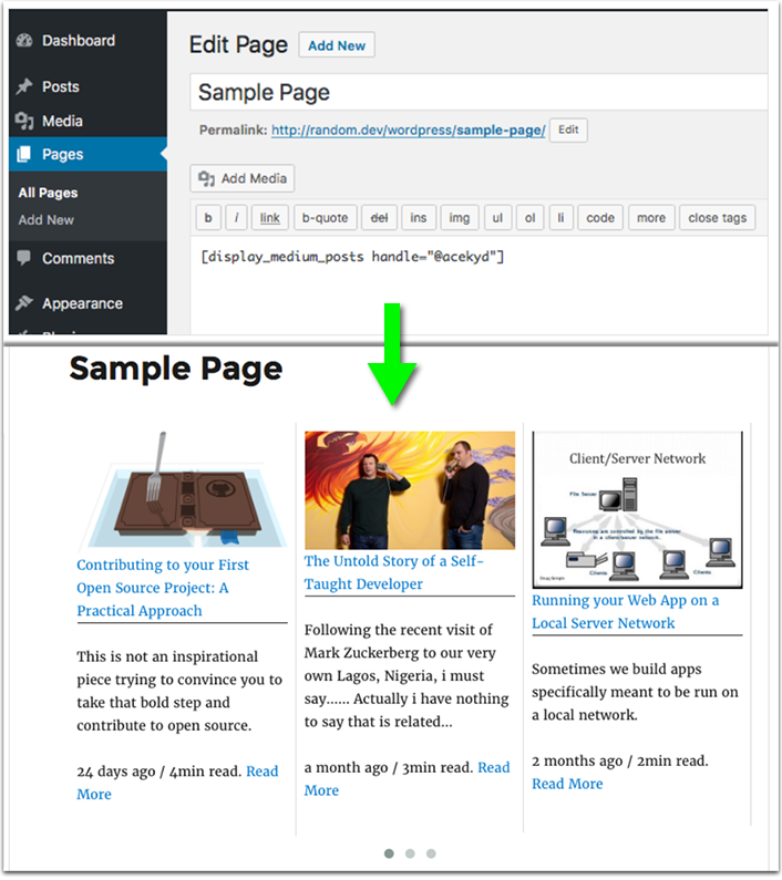 Display Medium Posts