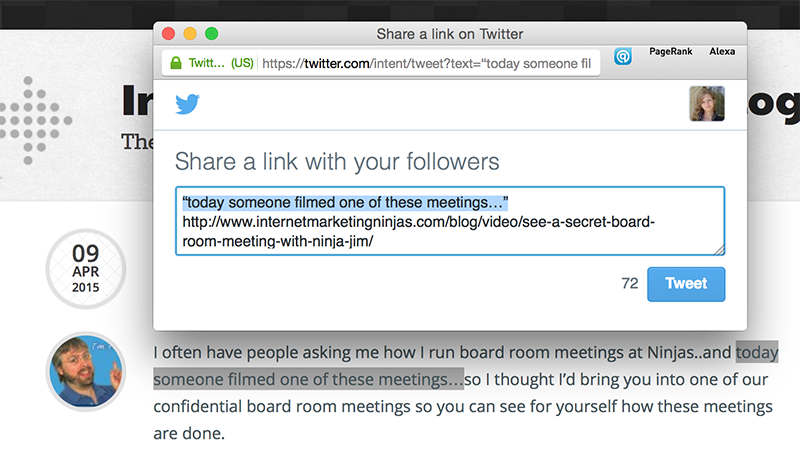 Official Twitter bookmarklet to tweet quotes