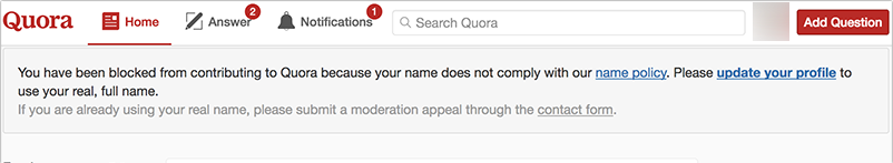 Real name policy Quora